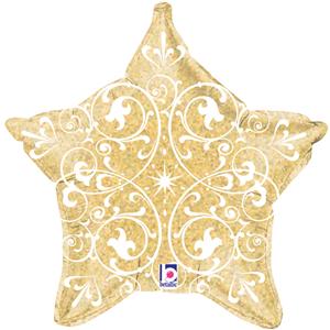 Balão Foil Estrela Dourada com Filigrana, 53 Cm
