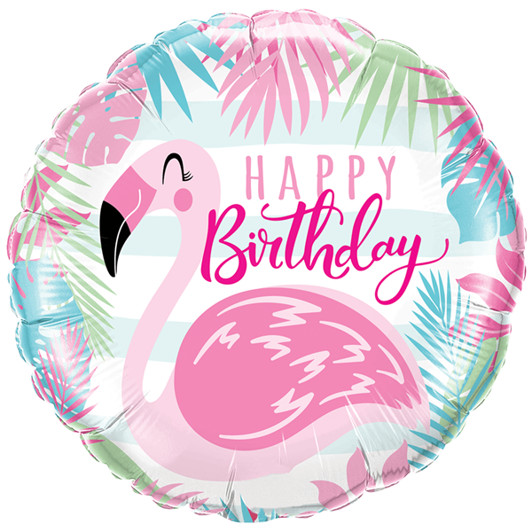 Balão Foil Flamingo Happy Birthday, 46 Cm