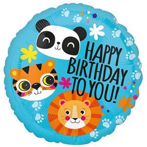 Balão Foil Happy Birthday Animais da Selva, 43 cm