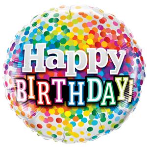 Balão Foil Happy Birthday com Bolinhas Coloridas, 46 cm