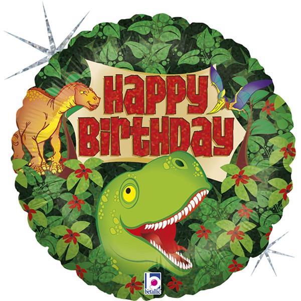 Balão Foil Happy Birthday Dinossauro Holográfico, 46 cm
