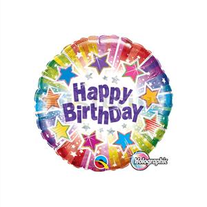Balão Foil Happy Birthday Estrelas Multicor, 22 Cm