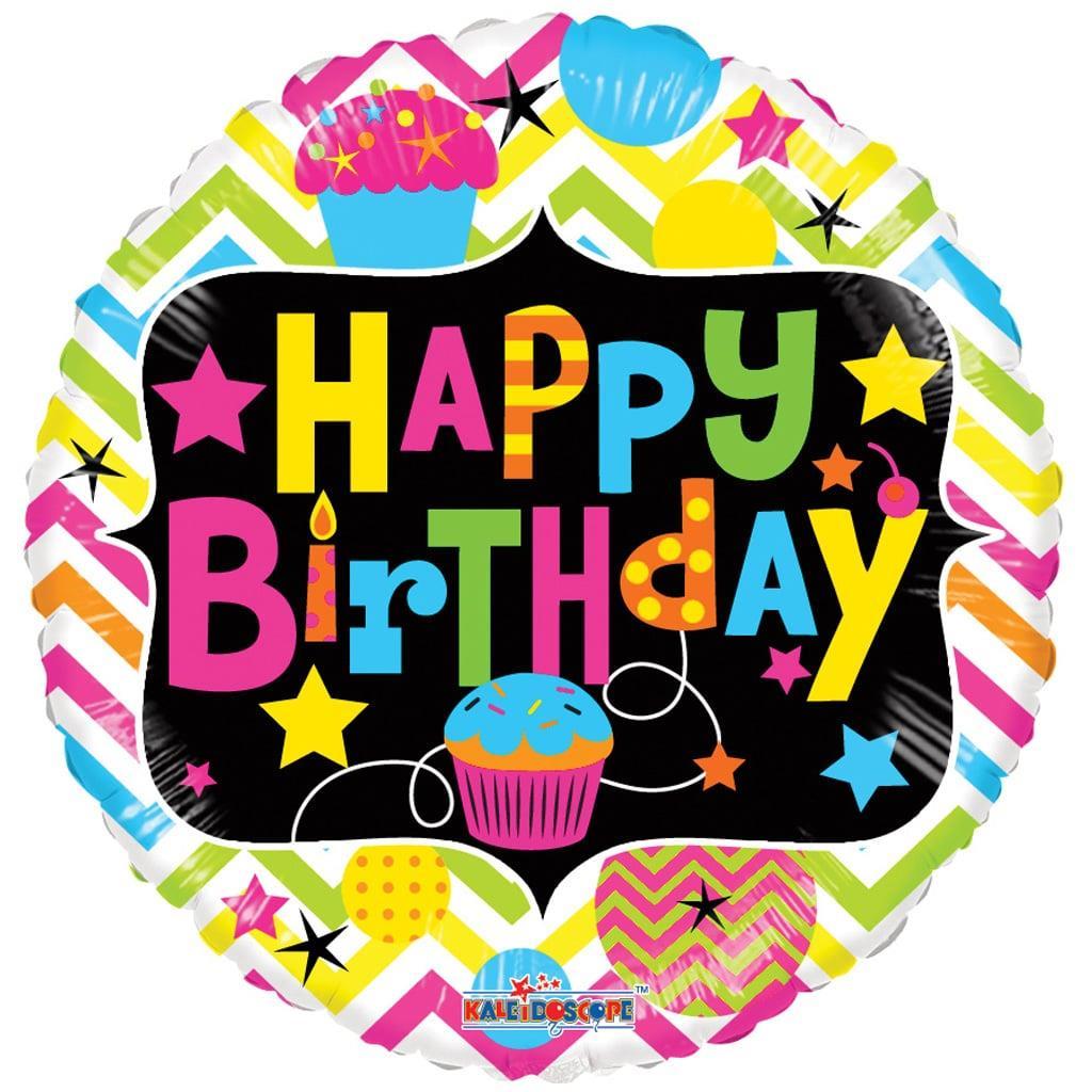 Balão Foil Happy Birthday Neon, 46 cm
