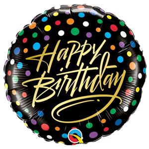 Balão Foil Happy Birthday Preto com Bolinhas, 46 cm