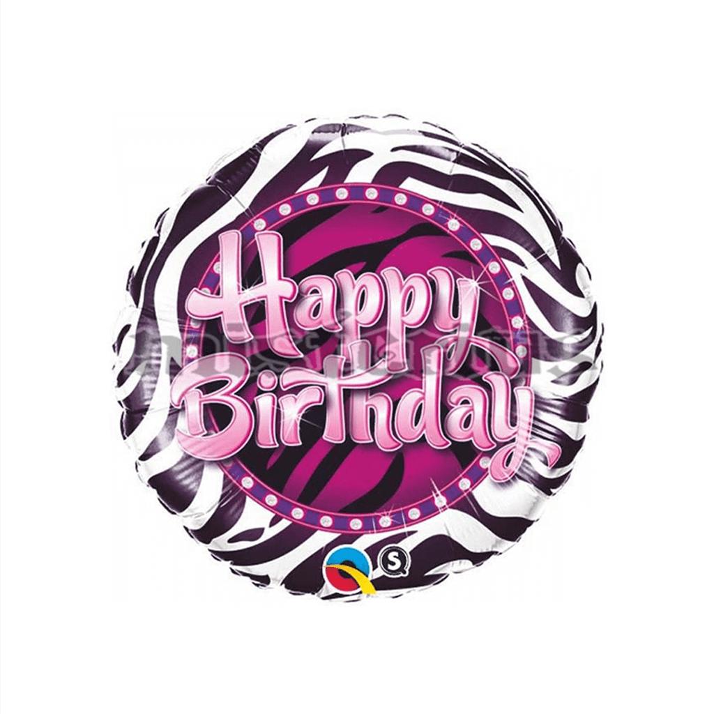 Balão Foil Happy Birthday Zebra, 22 Cm