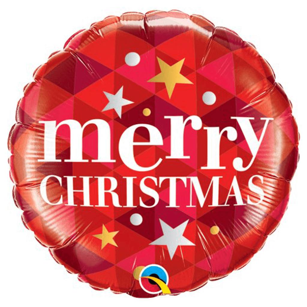 Balão Foil Merry Christmas Vermelho com Estrelas, 46 cm