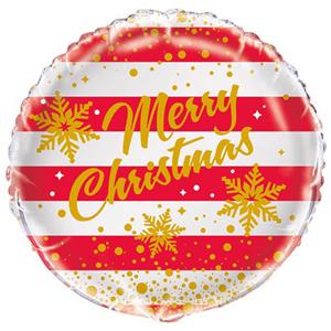 Balão Foil Merry Christmas Vermelho e Branco, 46 Cm