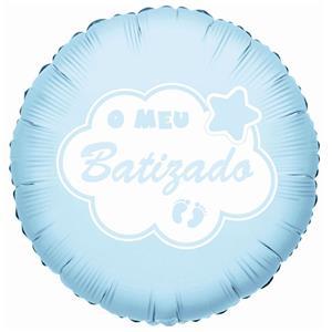 Balão Foil O Meu Batizado Azul