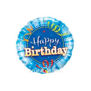 Balão Foil Redondo Happy Birthday Azul, 22 Cm