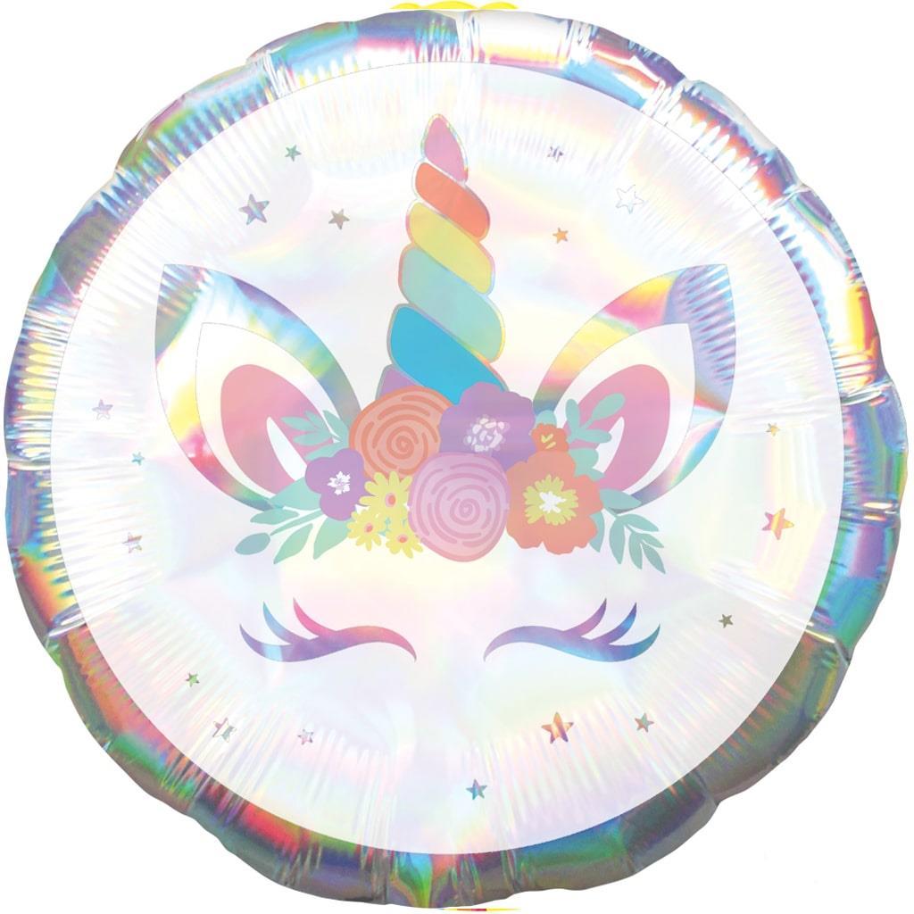 Balão Foil Unicórnio Iridescente, 45 cm