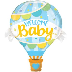 Balão Foil Welcome Baby Azul, 107 Cm