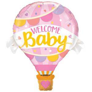 Balão Foil Welcome Baby Rosa, 107 Cm