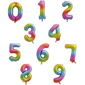 Balão Forma de Número Rainbow