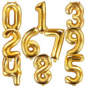 Balão Forma Número Dourado, 40 cm