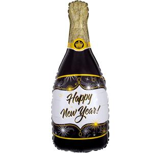 Balão Garrafa de Champanhe Happy New Year Foil, 91 cm