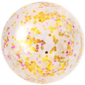 Balão Gigante Transparente com Confetis Dourados e Rosa, 90 cm