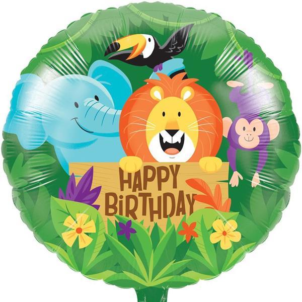 Balão Happy Birthday Animais da Selva Foil, 45 cm