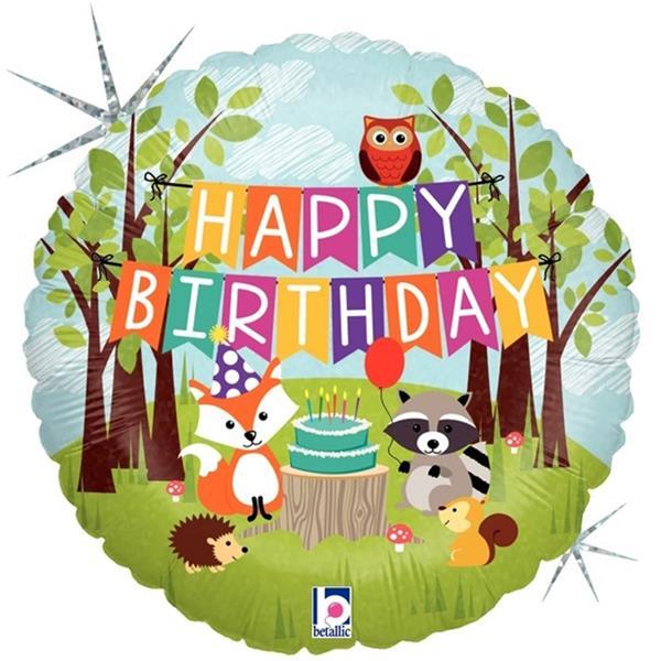 Balão Happy Birthday Animais do Bosque Foil, 46 cm