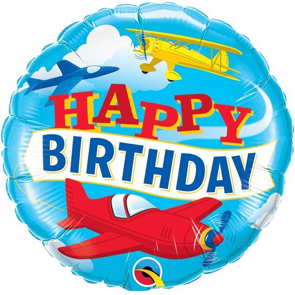 Balão Happy Birthday Avião Foil, 46 cm