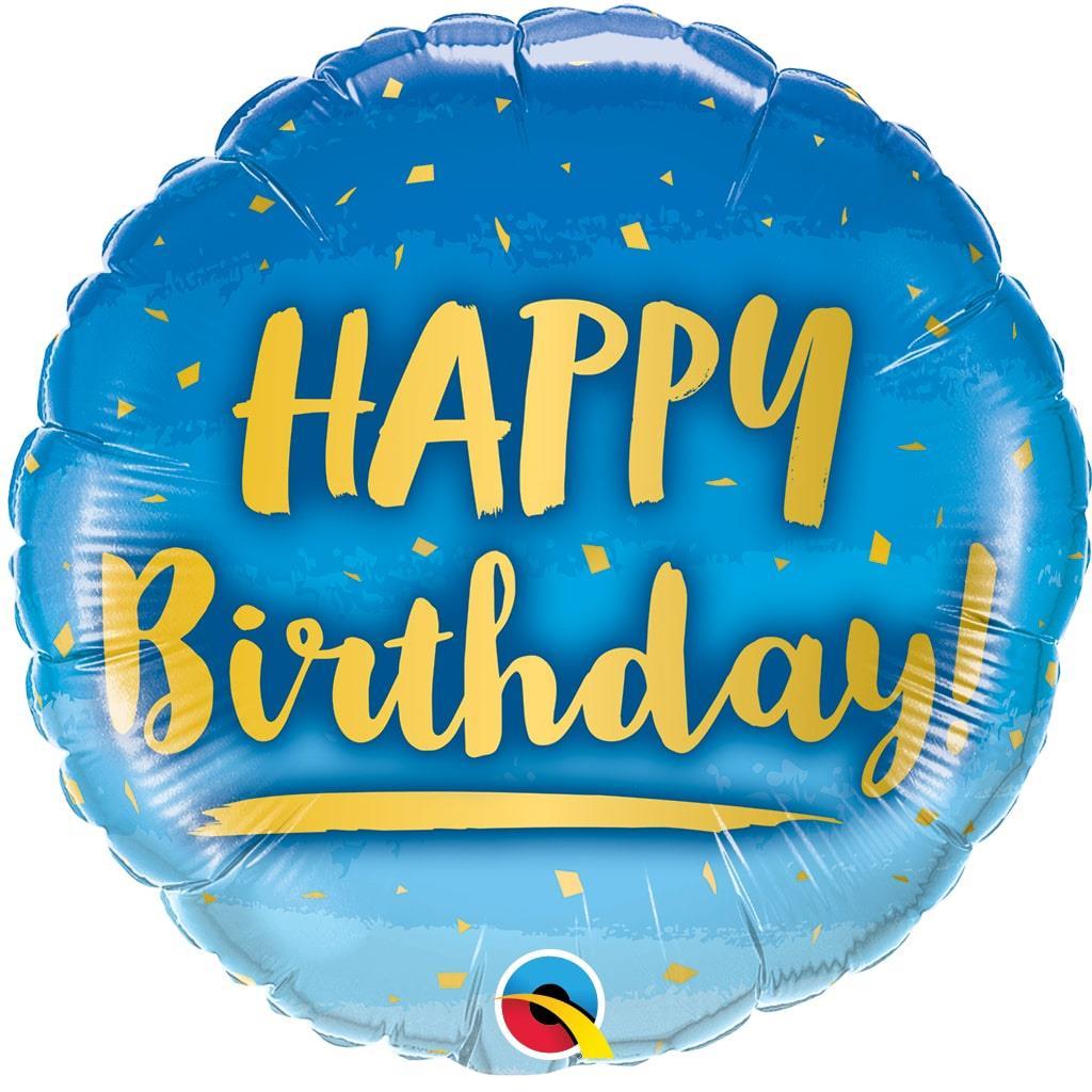 Balão Happy Birthday Azul Foil, 46 cm