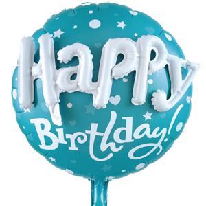 Balão Happy Birthday Azul Foil com Relevo, 58 cm