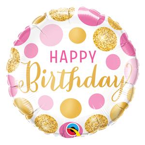 Balão Happy Birthday Bolinhas Ouro e Rosa, 46cm