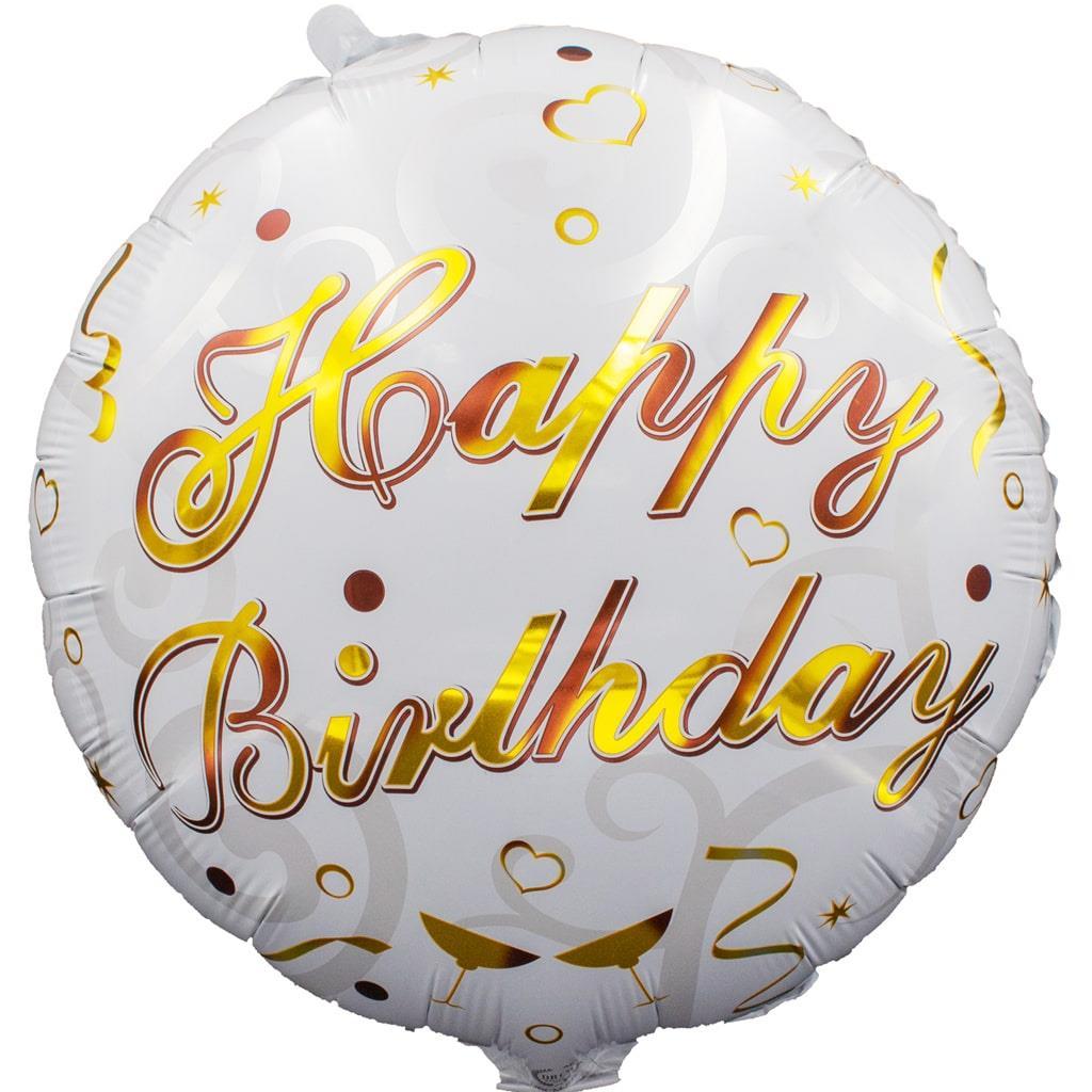Balão Happy Birthday Branco Foil, 45 cm