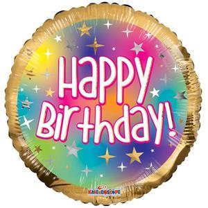 Balão Happy Birthday Dourado e Multicolor Foil, 46 cm