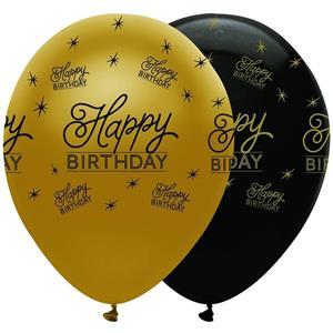 Balão Happy Birthday Dourado e Preto Látex, 30 cm