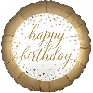 Balão Happy Birthday Dourado Foil, 45 cm