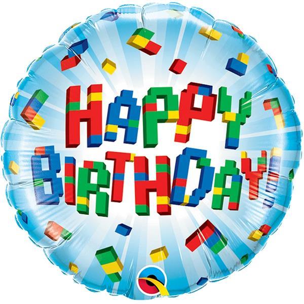 Balão Happy Birthday Lego Foil, 46 cm