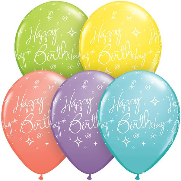 Balão Happy Birthday Multicolor Latex, 30 cm