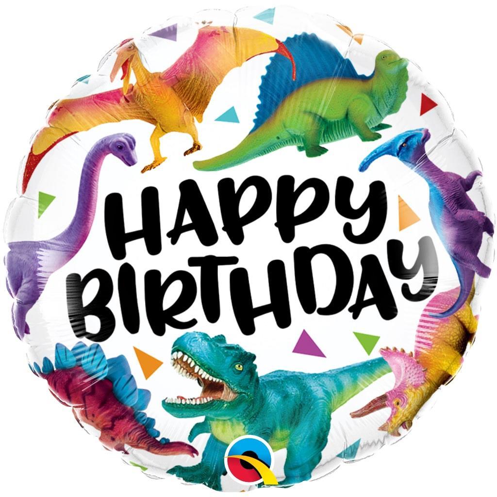 Balão Happy Birthday Mundo dos Dinossauros Foil, 46 cm