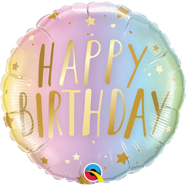 Balão Happy Birthday Pastel Foil, 46 cm