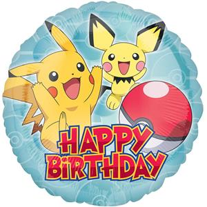 Balão Happy Birthday Pokémon Foil, 43 cm