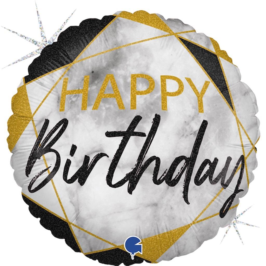 Balão Happy Birthday Preto e Dourado Foil, 46 cm
