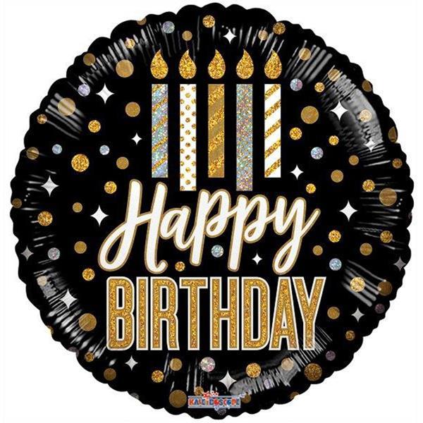 Balão Happy Birthday Preto e Holográfico Foil, 46 cm
