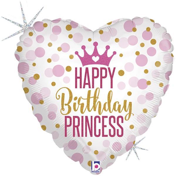 Balão Happy Birthday Princess Coração Foil, 46 cm