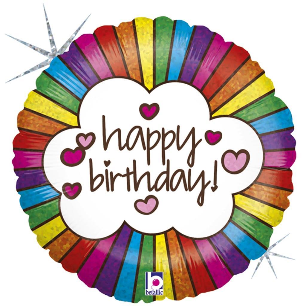 Balão Happy Birthday Rainbow Foil, 46 cm