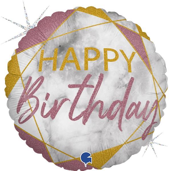 Balão Happy Birthday Rosa e Dourado Foil, 46 cm