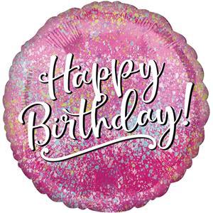 Balão Happy Birthday Rosa Foil, 43 cm