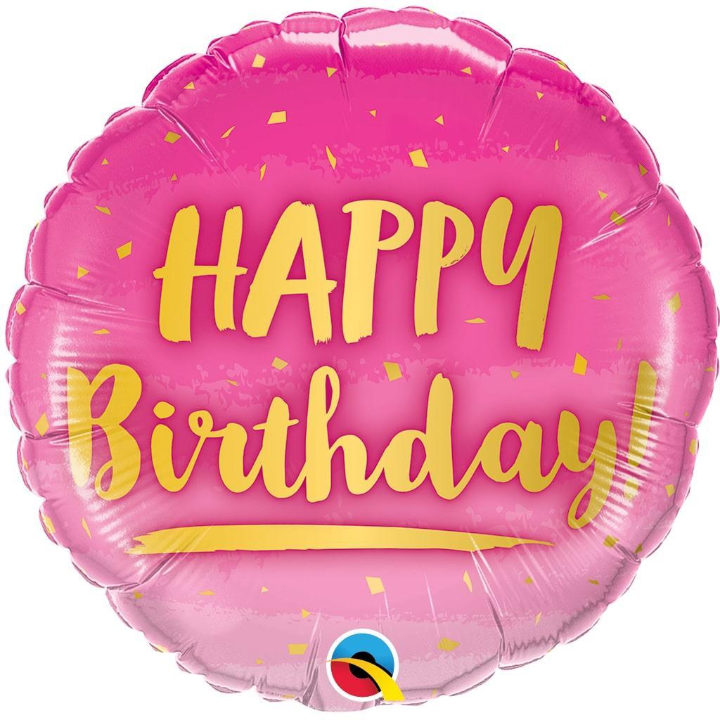 Balão Happy Birthday Rosa Foil, 46 cm
