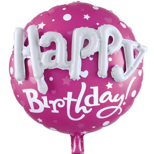 Balão Happy Birthday Rosa Foil com Relevo, 58 cm