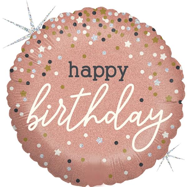 Balão Happy Birthday Rosa Glitter Foil, 46 cm