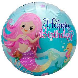 Balão Happy Birthday Sereia Foil, 45 cm