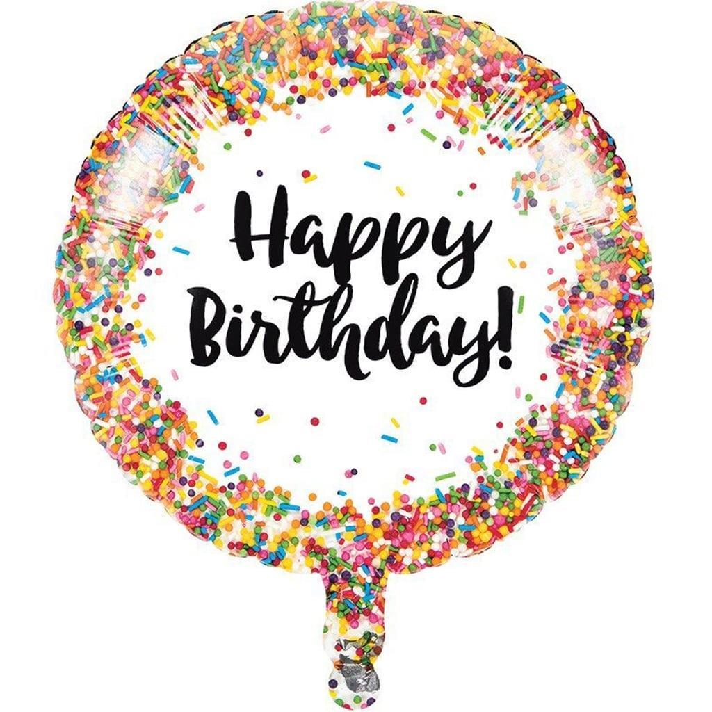 Balão Happy Birthday Sprinkles Coloridos Foil, 45 cm