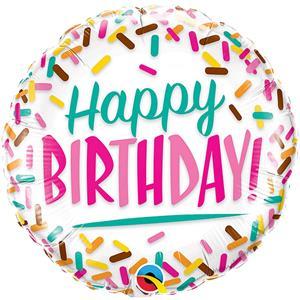 Balão Happy Birthday Sprinkles Foil, 46 cm