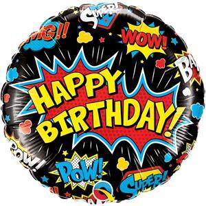 Balão Happy Birthday Super Hero Foil, 46 cm