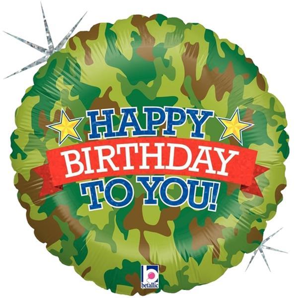 Balão Happy Birthday To You Camuflado Foil, 46 cm