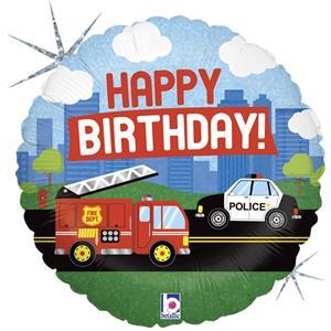 Balão Happy Birthday Veículos de Emergência Foil, 46 cm